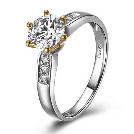 【殿堂钟声】 白黄18K双色金0.5克拉钻石女戒
