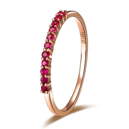 【画眉】 玫瑰金红宝石戒指(可定制蓝宝石)