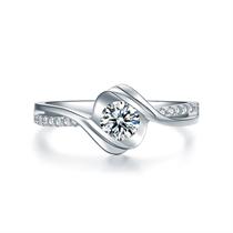 【邂逅】系列 白18k金钻石女戒求婚结婚珠宝