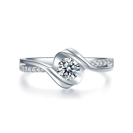 【邂逅】 白18k金40分群镶钻石戒指