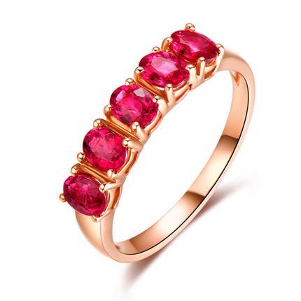 【至尊时尚】 18K玫瑰金共1克拉红宝石戒指