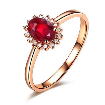 【激情】 玫瑰18K金红宝石女士戒指