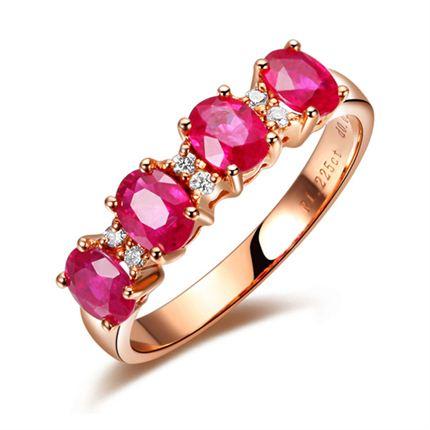 【花火】 18K玫瑰金红宝石戒指