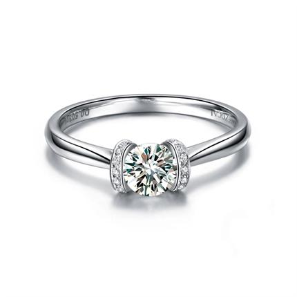 【铭刻之吻】 白18K金钻石求婚结婚钻戒裸钻定制