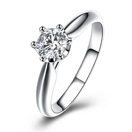 【甜美】 白18k金戒指