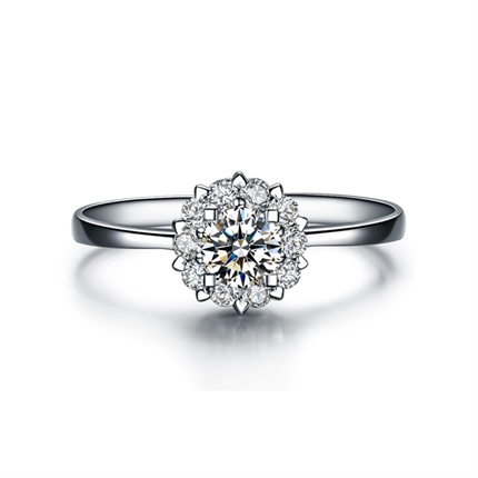 【觸電】系列 白18K金群鑲鉆石戒指