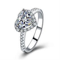 【浪漫的心】系列 18K白金心形钻石戒指