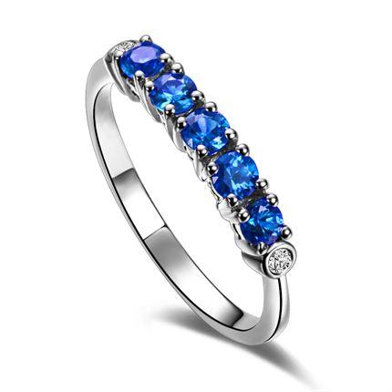 【星之美】 0.3克拉白18k金蓝宝石戒指