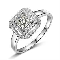 【璀璨闪烁】 公主方白18k金戒指