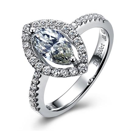 【完美之恋】 白18k金橄榄形钻石戒指