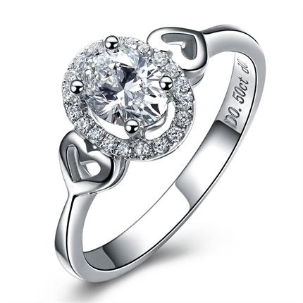 【爱情童话】 白18k金钻石女士戒指