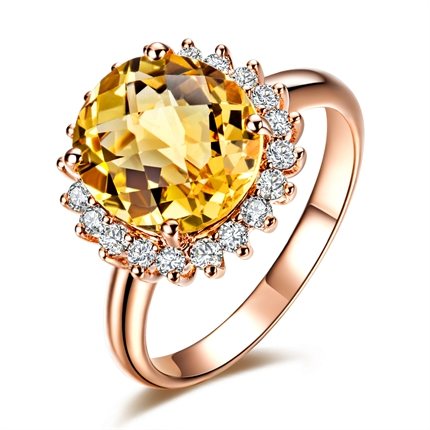 【贵妃】 18K玫瑰金黄水晶戒指(可定制红水晶戒指)