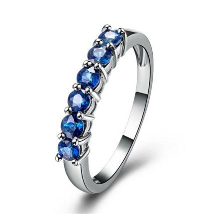 【花冠】 白18k金蓝宝石戒指