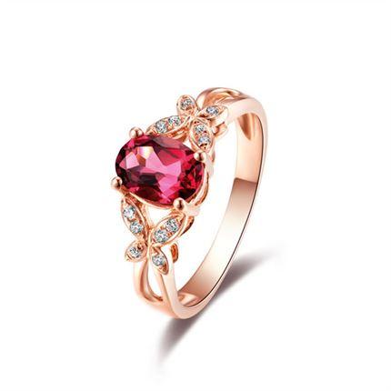 【蝶双飞】 0.6克拉玫瑰金天然红碧玺戒指