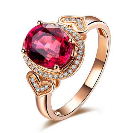【守护爱】 玫瑰18K金 奢华红碧玺戒指