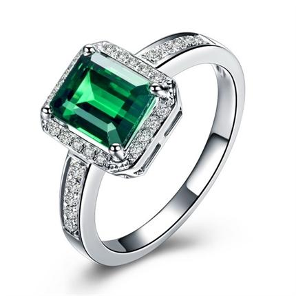 【典雅】 白18k金巴西绿碧玺戒指