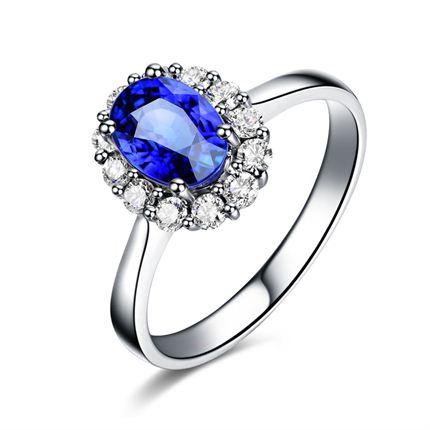 【豪情】系列 白18K金蓝宝石戒指(可以定制红宝石)