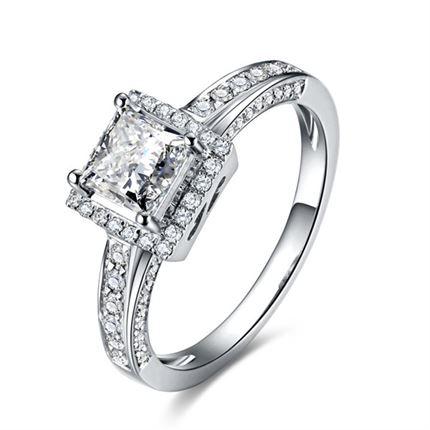 【闪烁众星】 白18k金钻石女士戒指