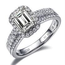 【朝霞】 白18k金钻石戒指