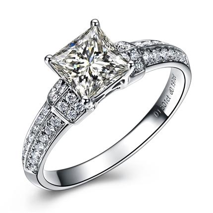 【优璇】 白18k金 钻石戒指