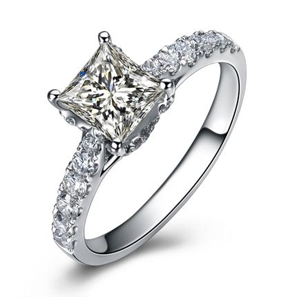 【完美守护】 白18k金100分/1克拉钻石戒指