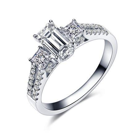 【璀璨星光】 白18k金100分/1克拉钻石戒指