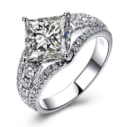 【含蕾】 白18k金 钻石戒指