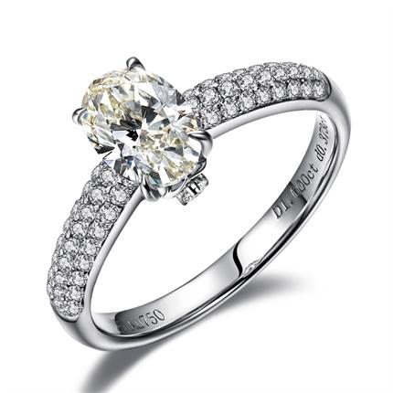 【紫蓝】 白18k金 钻石戒指