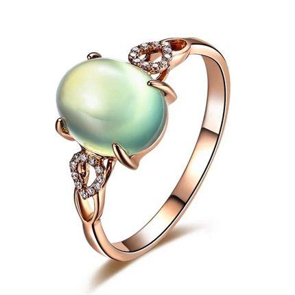 【绿光】 玫瑰金葡萄石戒指