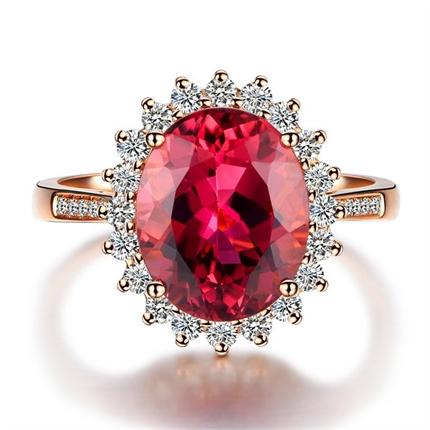 【维多利亚女王】 18K玫瑰金巴西碧玺戒指 奢华新款