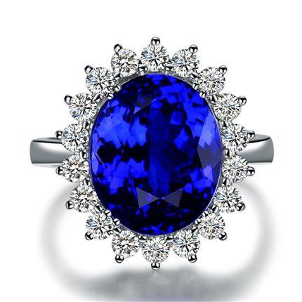 【蓝之魅】 白18k金自然坦桑石戒指