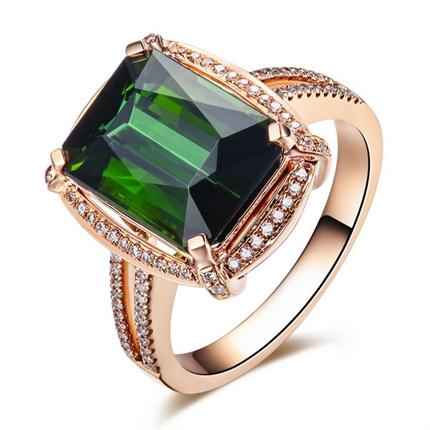 【迷情】 18K玫瑰金绿碧玺镶钻戒指