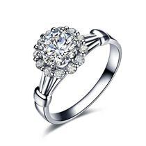 【绣球】 白18K金钻石婚戒 明星同款