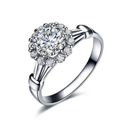 【捧花-绣球】 白18K金钻石婚戒 明星同款