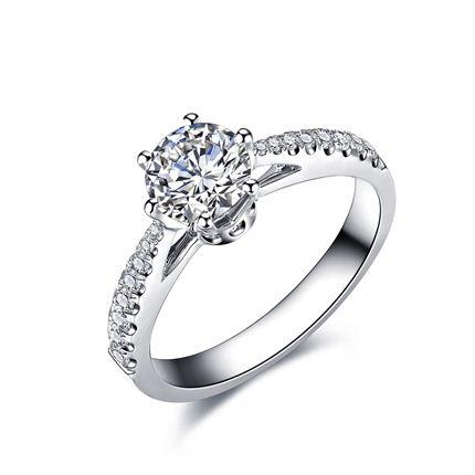 【真爱皇冠】 白18K金钻石女士戒指