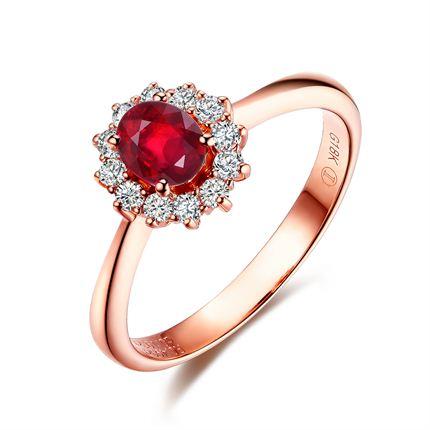 【秋蝶】系列 玫瑰18K金 红宝石戒指