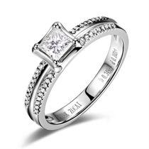 【温暖】 白18K金钻石女士戒指