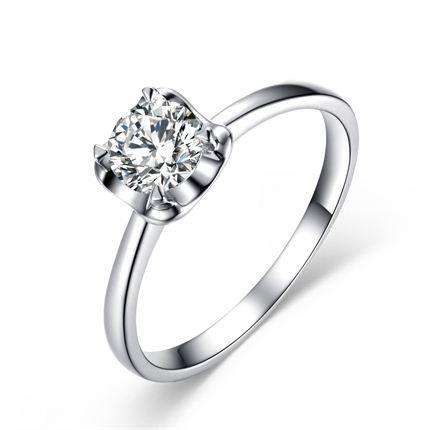 【新颜】 白18K金钻石女士戒指