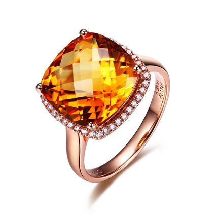 【炙热】系列 18K玫瑰金黄水晶戒指