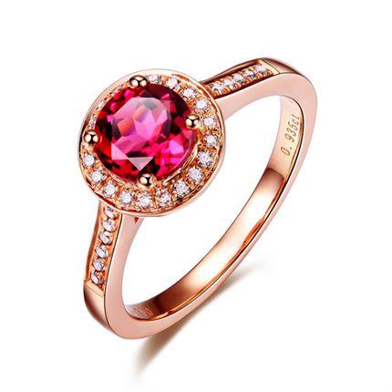 【圆满】系列 玫瑰18K金碧玺女士戒指
