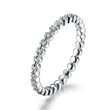 【公主】 白18K金排镶钻石女士戒指