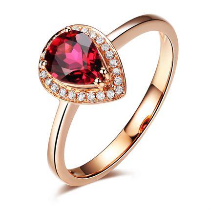 【灵耀】 玫瑰18K金红碧玺戒指
