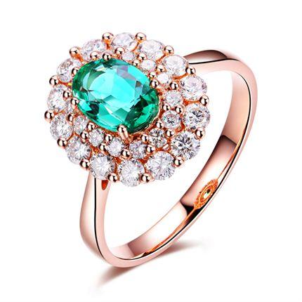 【爱的生命】 玫瑰18K金自然祖母绿镶钻女戒