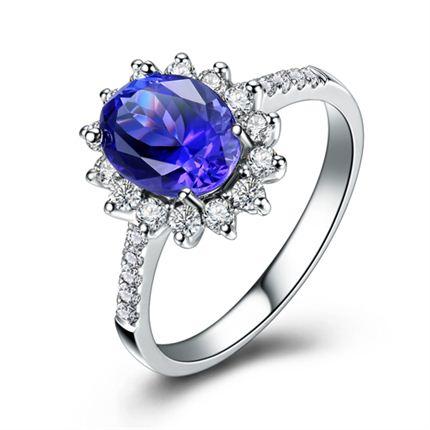 【湛蓝星空】 白18K金深蓝宝石女士戒指