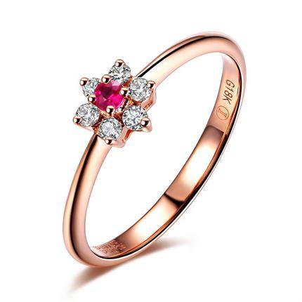 【红精灵系列】 玫瑰18K金红宝石密斯戒指(可定制蓝宝石戒指)