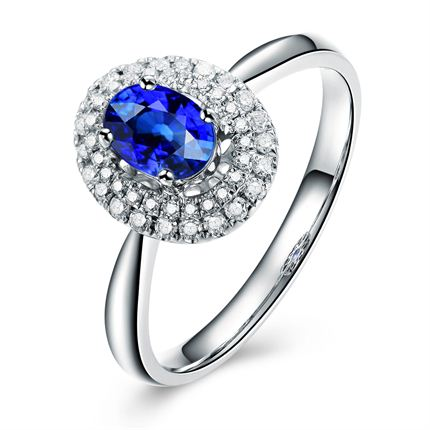 【悠美】 白18K金蓝宝石女士戒指