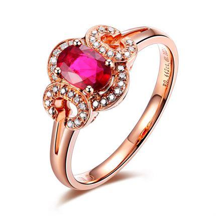 【留恋】 玫瑰18k金红宝石戒指(可定制蓝宝石戒指)