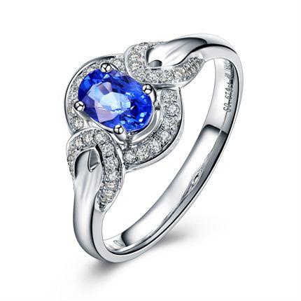 【悦目】 白18K金 蓝宝石女士戒指