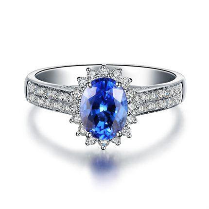 【纯美】 白18K金 蓝宝石戒指