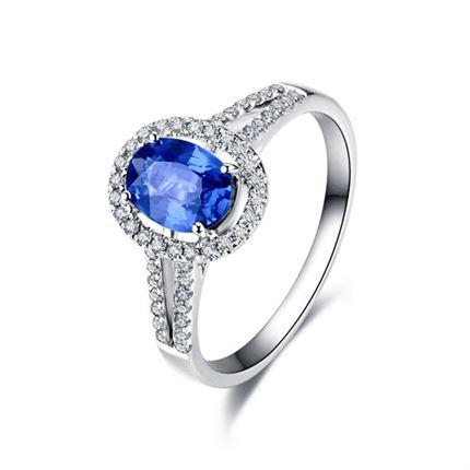 【韵致】 白18K金 蓝宝石戒指